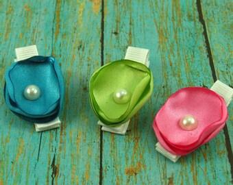 Singed Flower Hair Clip Set  / Flower Hair Clip / Baby Hair Clip / Toddler Hair Clip / Hair Clip / No Slip Clip