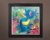 "Pokemon: Horsea Print Decor 8"" x 8"""