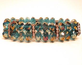 Beaded bracelet crystal bracelet 8mm deep blue crystals with crystal spacer bars