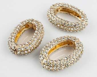 Lot 20 Pave Rhinestone Beads, Chain Link for Bracelet and Necklace, with AAA Rhinestones, 29x21mm, L0C9.UN91.P20