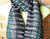 Handwoven Scarf, Handmade Scarf, Handwoven Shawl, Black and Green Scarf/Shawl