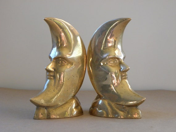Brass Moon Bookends (Treasury Featured Item)