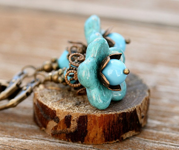 Glass Floral Earrings/Turquoise blue/Blue Flowers/Leverback/ Woodland Fairy Jewelry by MayaHoney, E1
