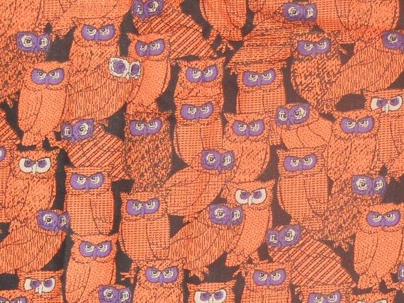 Vintage Halloween Fabric Orange and Purple Owl Print Yardage