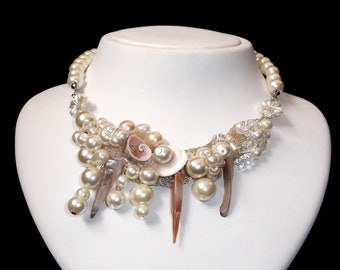 Pearl Necklace with Swarovski Crystalls and Sea  Shells