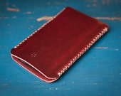 iPhone 5 spine stitched Horween leather sleeve - red