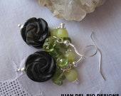 "925 ""Black Rose"" Peridot  Jasper Onyx earrings Sterling Silver faceted gemstones cluster  carved flower blossom chartreuse"