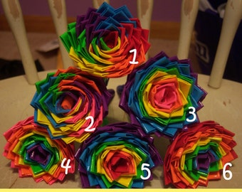 Rainbow Wheel and Rainbow Style Duct Tape Flower Pens