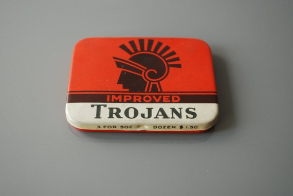 Reserved for Q - Vintage Trojan Rubbers Condom Tin