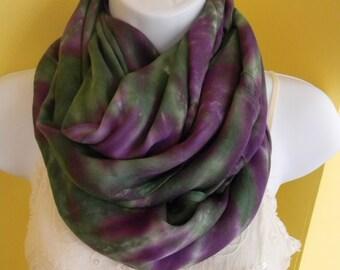Tye dye scarf, Hand dyed infinity scarf, Rayon infinity scarf, Purple and green scarf, circle scarf