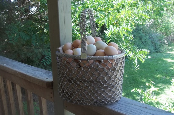 Silver gray metal woven basket