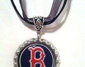 Boston Red Sox Bottle Cap Ribbon/Cord Necklace