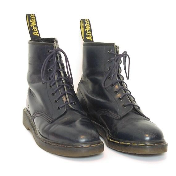 Womens Vintage Blue Doc Martens Boots - Model 1460 - Dark Navy - 8 eye - Original Made in England - Good Condition