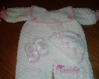 Pretty 'n Pink Romper with matching Hat and Shoes- Size 0-6 Months