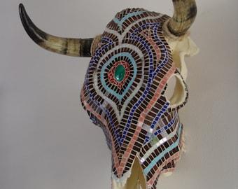 Mosaic Steer Skull