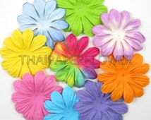 50 Paper Flowers Large Die Cut Daisy Scrapbook Card Making Craft Supply PS- Rainbow