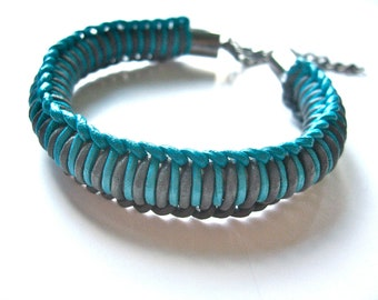 woven leather bracelet in turquoise and grey with gunmetal hardware