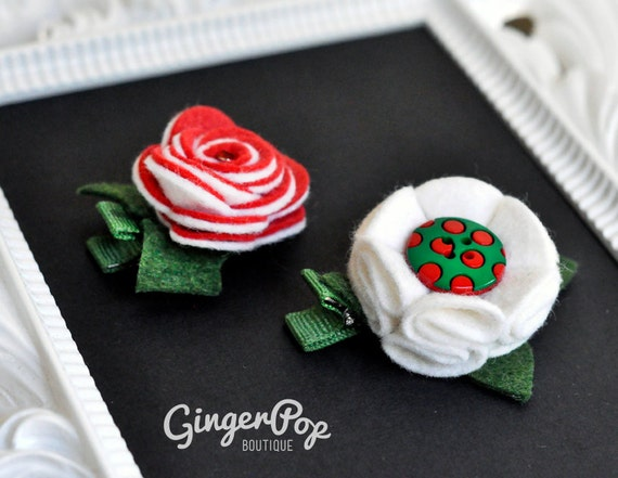 Set of Felt Christmas Clips - Candy Cane Rose and Polka Dot Button Clips - Christmas Alligator Clips  - Christmas photo prop