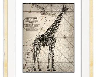 Giraffe on a vintage map // Buy 2 prints, get 1 Free