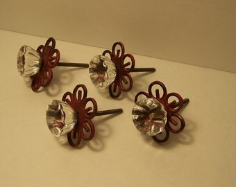 1-Red and Clear Glass Knob, Cottage Chic, Vintage Inspired, Dresser Knob