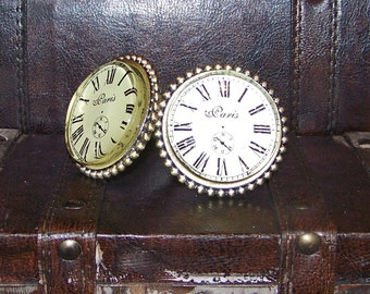 Glass Gold Brush Knob with Clock like Front-Victorian Style-Drawer Pull