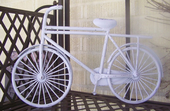 Metal Wall Decor Bicycle : Metal bicycle wall art painted distressed decor shabby