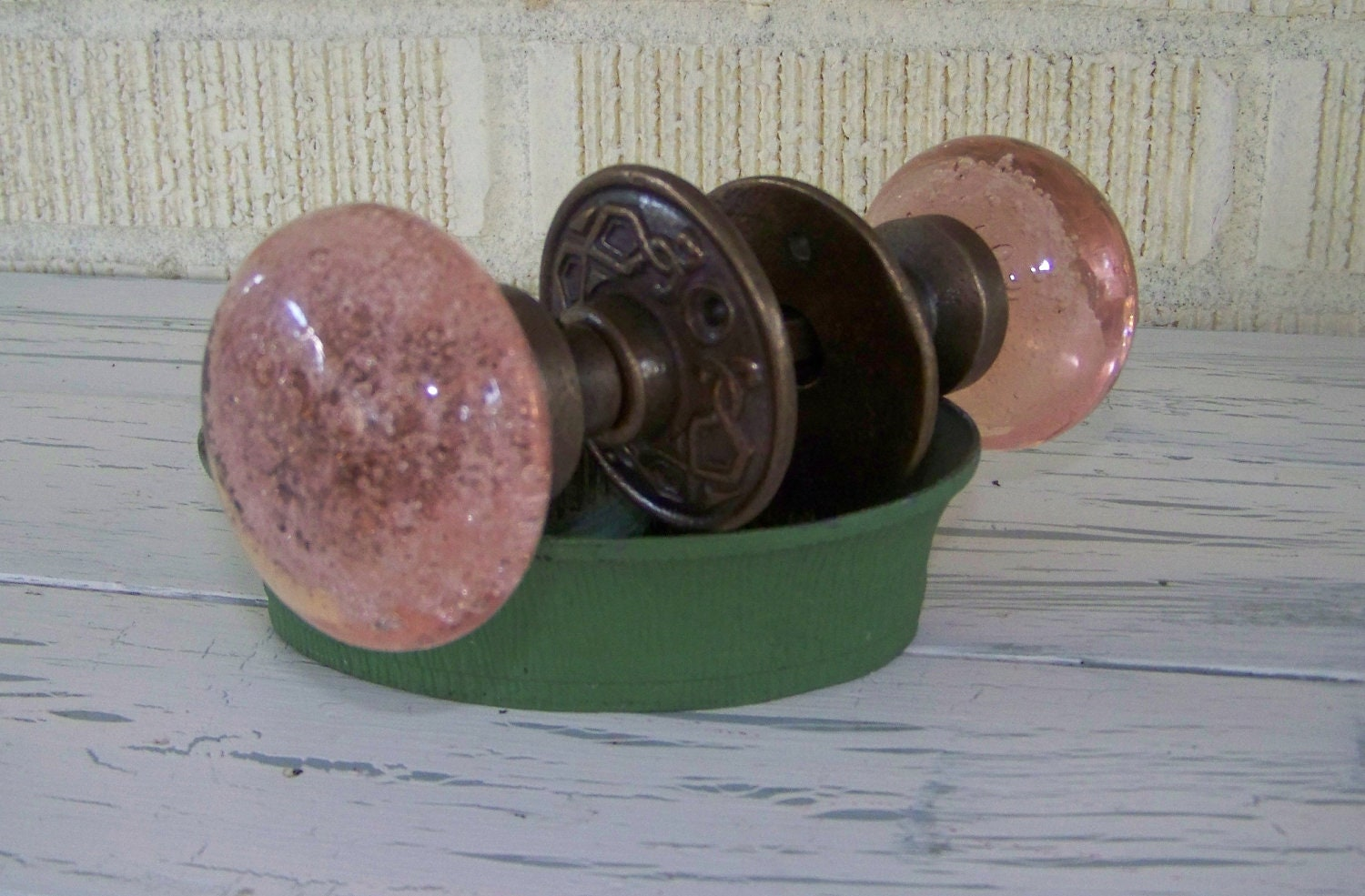 Pink Glass Door Knob Bubbled Glass Vintage Inspired Shabby
