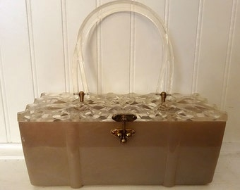 Taupey Salmon Lucite Purse with Heavily Carved Top, 3-Ball Brass Catch & Double Handle, ca 1950s