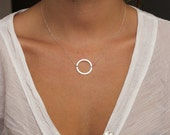 Silver Karma Necklace, Silver Eternity Necklace, Minimalist Necklace, Modern Simple Necklace, Sterling Silver Halo Circle Ring Necklace