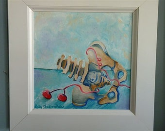"Original Oil Painting, Bones, Pelvis, ""Spilled Cherries"" Pastel, skeleton, blue, pink, strange, by Kelly Shoemaker"