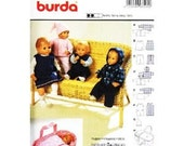 "BURDA 8591 Doll Clothes Sewing Pattern Baby Doll Clothes (Doll  16""-18"" or 20""-22"")  Carrier  Like New Unused"