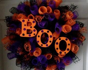 BOO...Spiral Deco Mesh Wreath