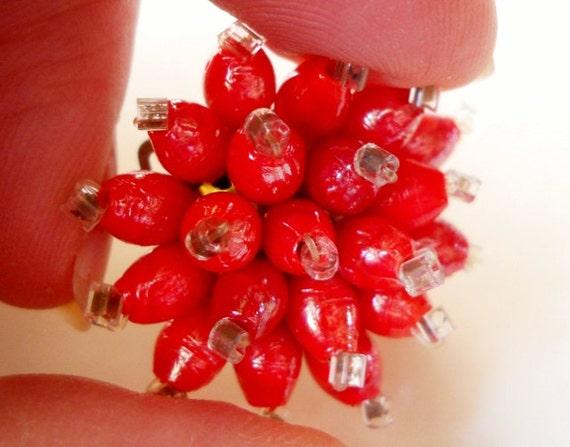 Italian Red Earrings Vintage Clustered Beads...c.1960's