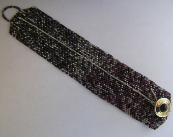Glass Japanese Delica Hand-Woven Beaded Bracelet with Silver Chain