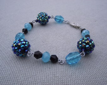 Turquoise & Black Shamballa Jeweled and Glass Bracelet - Handmade Beaded and Wire Wrapped Women's Gift