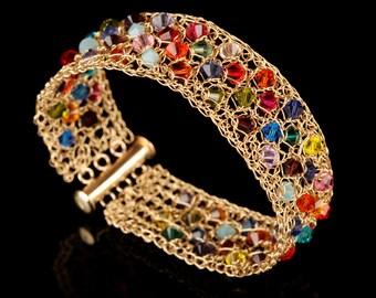Wild Colorful Swarovski Crochet 14K Gold-filled wire Bracelet, Unique jewelry, Elegant Handmade bracelet, Swarovski beeds jewelry