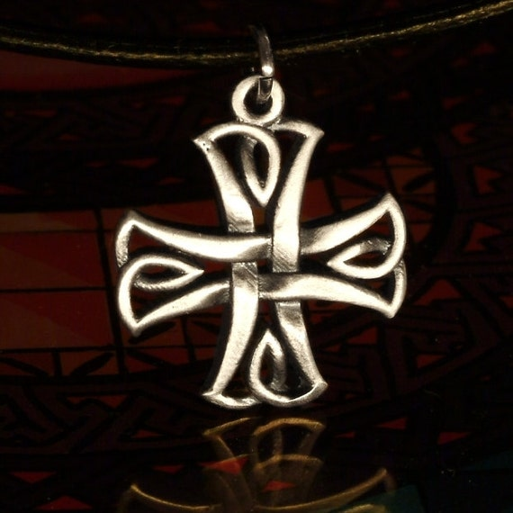 Celtic Cross in Sterling Silver Traditional Irish Knot Design with Leather Cord CP-73