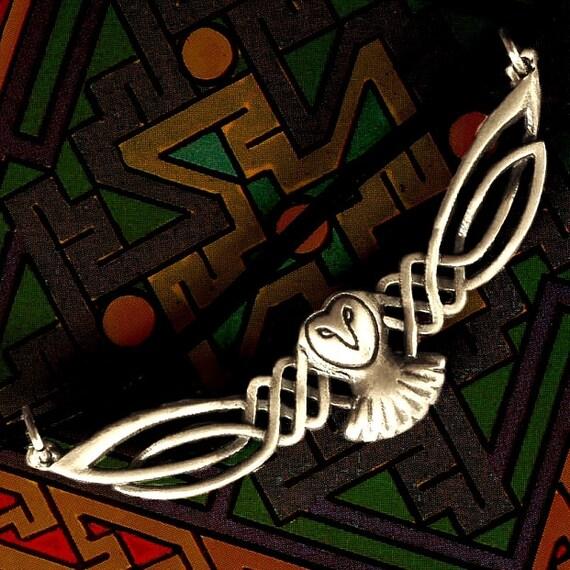 Barn Owl Necklace, Celtic Owl Pendant, Sterling Silver Owl Necklace, Celtic Owl, Barn Owl, Labrynth Necklace, Jareth Necklace Owl Lover Gift