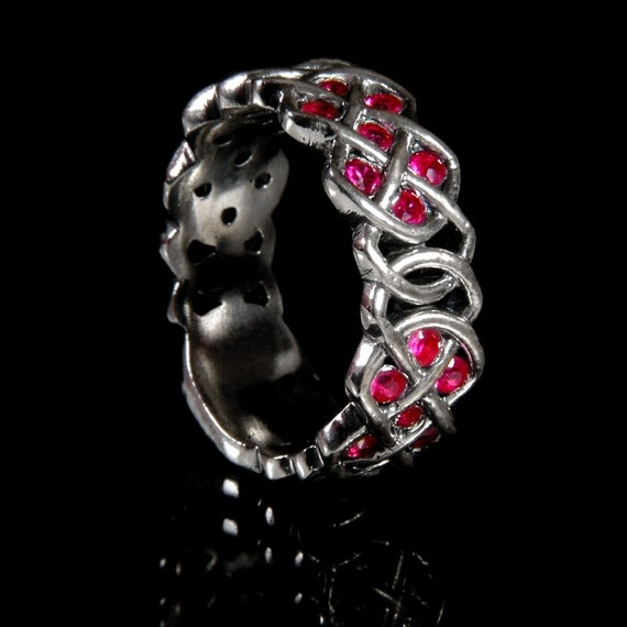 Celtic Ruby Wedding Ring With Infinity Knot Design in 10K Gold, Made in Your Size CR-769