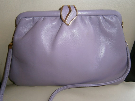 Immaculate Vintage Jane Shilton Lilac Lavender Purple Leather Clutch Bag with Strap