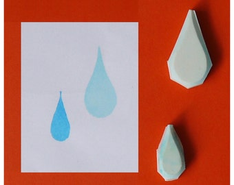 Raindrop Hand Carved Rubber Stamp, set of 2 - handmade rubber stamp, handcarved rubber stamp, hand carved stamp, handcarved stamp