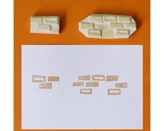 Bricks Handmade Rubber Stamp, set of 2, handcarved rubber stamp, hand carved stamp, handmade stamp, handcarved stamp
