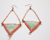 Two colour triangular beaded drop earrings with copper bar
