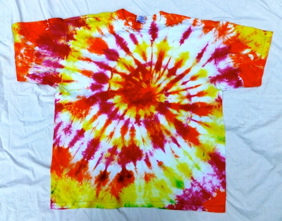Pink Orange And Yellow Spiral Tie Dye Size Xl