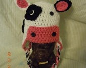 Adorable Crochet Cow Ear Flap Hat with Tassles for Boy or Girl!