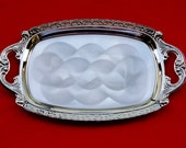 New Old Stock 80's Nickel Plated Steel Serving Tray with Pearlized finish, TWIN BIRD Japan  TR52