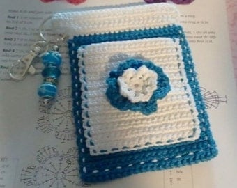 "Teal and White ""Bloomer"" Crochet Case with Beaded Keychain for iPhone, Smartphone, Camera, Cell Phone, MP3 Player"