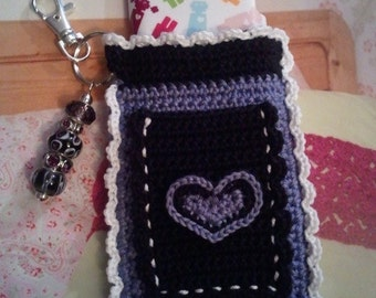 "Purple, Black and White ""Bloomer"" Crochet Case with Beaded Keychain for iPod, Camera, Cell Phone, MP3 Player"