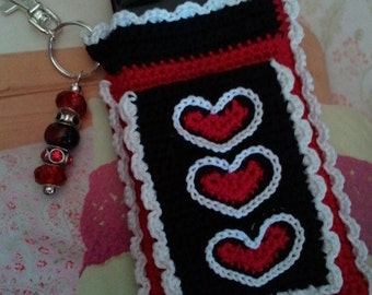 "Red, White and Black ""Bloomer"" Crochet Case with Beaded Keychain for iPhone, Smartphone, Camera, Cell Phone, MP3 Player"