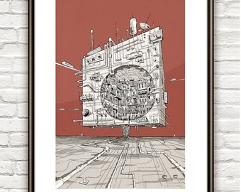 The Space Cube , Surrealism, architectural Drawing, Architecture sketch
